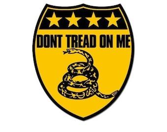Yellow Shield Shaped Don'T Tread On Me Sticker (Gadsden Tea Party)