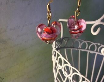 Multicolored glass heart earrings