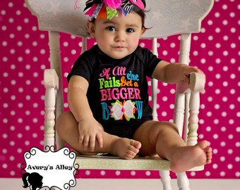 If all else fails get a Bigger Bow - Girls Multi Color Applique Shirt & Matching XL Hair Bow Set with Puff