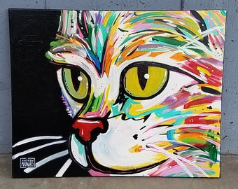 Tiberius James(Original Painting); colorful, bright acrylic on canvas, feline artwork, large, cat. This is purr fect for animal lovers