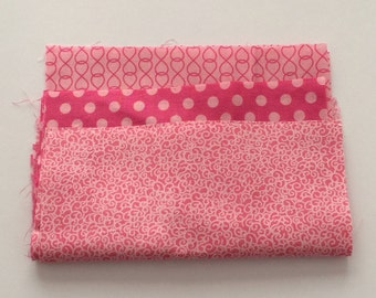 """Pink Patterned Set Embroidery Quilting Fabric Squares -8"""" x 8"""""""