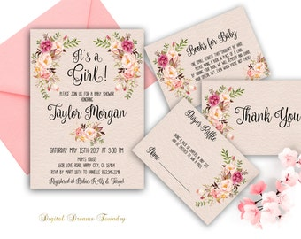 Rustic baby girl shower invitation printable boho baby shower floral baby shower invitation printable boho baby shower invite blush pink baby its a girl baby filmwisefo