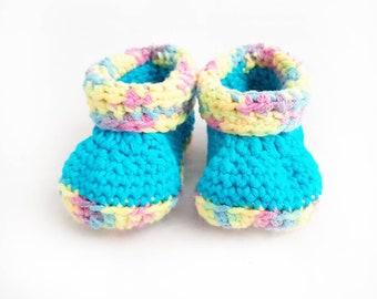 baby booties / rainbow baby booties / booties / baby shoes / baby shower gift / rainbow booties / rainbow baby / crochet baby booties