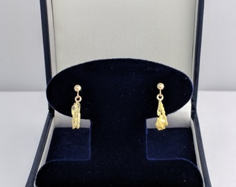 Drop Ball Gold Nugget Earrings, Real Natural Yukon Gold Rush Nuggets, L1