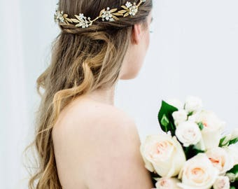 Blossom Spray Wrap Comb, Ivory flower comb, Flower Halo, Gold Headpiece, bridal headpiece, bohemian, flower wreath, bridal halo, boho #155