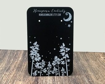 WHITE PRINT - Custom Earring Cards Display - Forest Trees Moon Stars - Packaging - Necklace Cards - Hairbows - Jewelry - Price Tags | DS0116