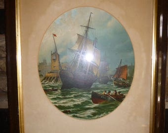 Vintage Print SHIPS, HARBOUR + Stormy Sea Oleograph Lithograph Print Nautical Art Painting