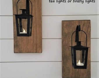 Lantern Sconces - Wood Sconces - Hanging Sconces - Reclaimed Wood Decor - Wrought Iron Decor - Lighted Hanging Sconces