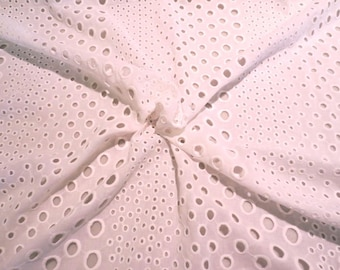 White on White Striped Embroidered Eyelet Pure Cotton Batiste Fabric--By the Yard
