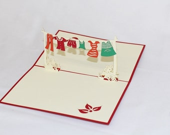 Clothes Hanger, Pop Up Card, Birthday Card, Greeting Card, Birthday Pop Up Card, Christmas Card, Get Well Card, Anniversary Card, 183