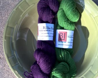 Dyed, worsted weight, Suri/Merino blend yarn