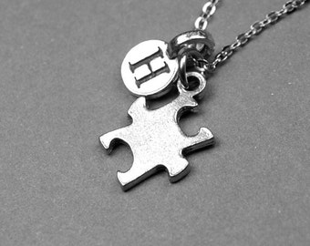 Puzzle Piece Necklace, Puzzle charm, Jigsaw puzzle, silver pewter puzzle, personalized jewelry, initial necklace, monogrammed letter