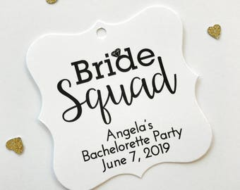 Bride Squad Bachelorette Party Tags, Customized Bachelorette Party Tags, Engaged Favor Tags (FS-502)