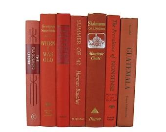 Orange Vintage Book Set for Bookshelf Decor and Mantel Decor
