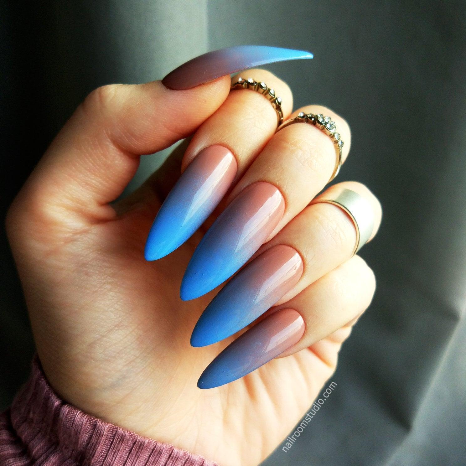 READY TO SHIP | nude blue ombre custom false nails | gel acrylic ...