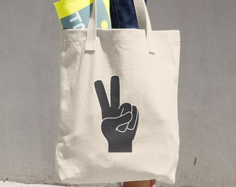 Peace  Sign Tote Bag, Cotton bag, Market bag, Cloth shopping bag, Book bag, School bag