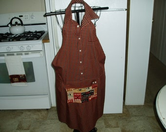 Handmade The King of BBQ Russet Brown and Black Check Men's Shirt Bib Apron