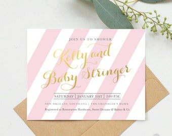 Striped Baby Shower Invitation