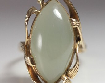 Ming's Hawaii Pale Green Marquise Jade Ring