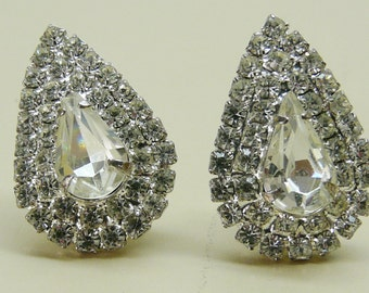 Vintage Crystal Pear Shaped Clip-on Earrings