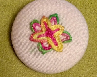 Yellow Green Pink - hand embroidery art MAGNET