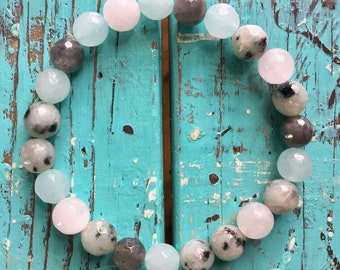 Stackable Reiki Love Infused Amazonite, Sesame Jasper, Labradorite + Rose Quartz Spiritual Junkies Yoga and Meditation Bracelet (1 bracelet)