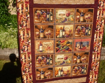 Red Wine and Corks Lap Quilt - FREE SHIPPING