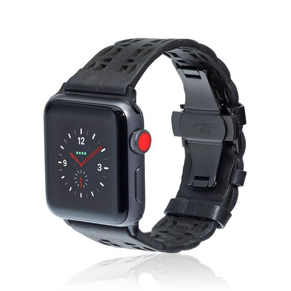 Apple Watch Band - Flora - Black - stainless steel and leather