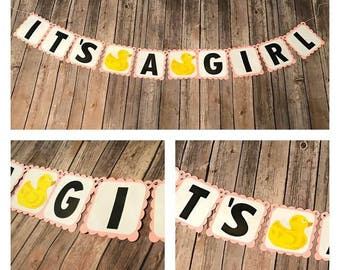 It's A Girl Duck Banner. Duck Party. Duck decorations. Baby Shower. Duck Baby Shower. It's A Girl