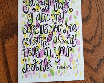 Psalm 56:8, Encouragement card, Christian card, scripture card