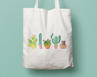 Tote Bag Cactus - cotton bag, beach bag, holidays bag, shopping bag, desert, flowers, skull, succulent, vegetal, watercolor