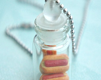 hotdog sandwiches in a jar necklace- food jewelry, bottle necklace, miniature food