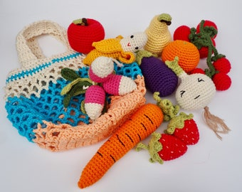 Crochet play food set (10 pcs) crochet vegetables and fruits, pretend play