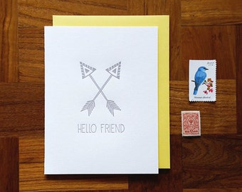 Hello Friend, Letterpress, Folded Note Card, Blank Inside