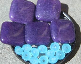 On sale 5 purple mountain jade and 12 aqua blue crystals