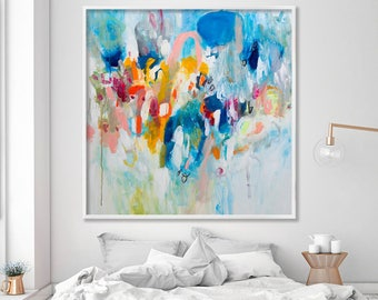 Large Art Painting PRINT, GICLEE print, abstract painting, large wall art with blue pink and yellow, Duealberi