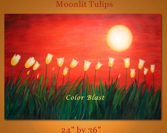Original Contemporary Abstract Modern Fine Art Landscape Painting -MOONLIT TULIPS- 36 inches long. Free Shipping inside US.