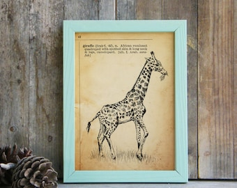 Giraffe Printable Art, Giraffe Poster, Dictionary Art, Printable Cabin Decor, Kids Decor, Dictionary Print, Gift Under 10, Dictionary Page