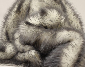 King Queen Twin Bedspread grey shaggy tips Exotic Blanke Throw Faux Fur Comforters Bedding Decor Luxurious Contemporary Modern Handmade