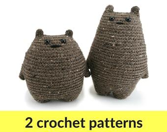 Two bear amigurumi crochet patterns - crochet teddy bear, cute amigurumi, toy bear pattern, stuffed animal crochet, cute crochet pattern
