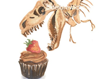 Dinosaur Watercolor Fine Art PRINT - Cupcake Watercolour, Dino Painting, T Rex, Kitchen Art, Nursery Art