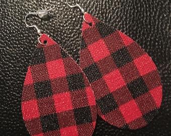 Faux leather earrings in buffalo print