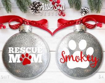 Personalized Cat Ornament, Rescue Mom, Christmas Ornament