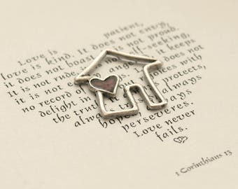 House and Heart Pendant Charm, Silver House Charm, Cottage Charm, House Jewelry Supplies, Code: T8