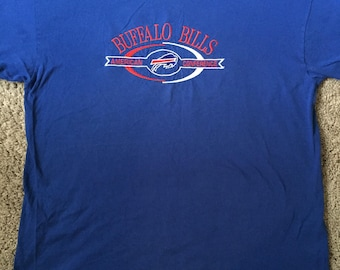 Vintage Buffalo Bills Blue Graphic Embroidered Tee Shirt- Buffalo Bills Football- Red, White and Blue American Conference Logo