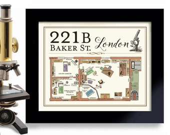 221B Baker Street Sherlock Holmes Book Lover Gifts London England, British Decor, Bar Sign, Sherlock Holmes Detective Mystery Great Britain