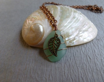 Handmade seaglass green pendant with leaf antique copper  chain