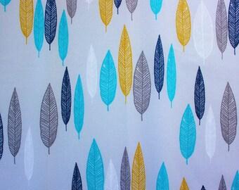 Cloud 9 Fabrics / Leaf Line-up First Light / Eloise Renouf/ Grey Aqua / Organic Cotton Poplin / Sewing Dressmaking Quilting / Half Metre