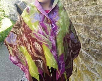 Wool Scarf Silk Felt Nuno felted Organic Flower Beautiful Fibers Pink Purple Chiffon Felt scarf Wool natural Beautiful Scarf Felt Wool