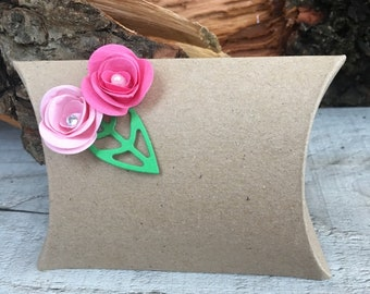 x10 Pillow Favour Boxes with Pink Flowers